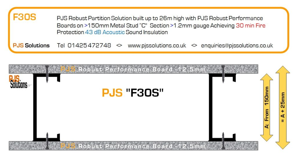 """PJS """"F30S"""" Robust Acoustic Fire Rated Partition System"""